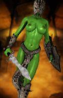 guerriero verde con grandi tette